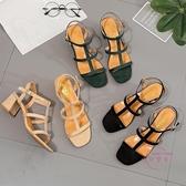 夏季新款粗跟一字扣帶露趾女士涼鞋百搭羅馬中跟時尚女高跟鞋大尺碼 【快速出貨】