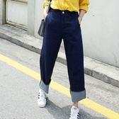 寬褲-高腰直筒寬鬆翻邊時尚女牛仔長褲2色71ai15【巴黎精品】
