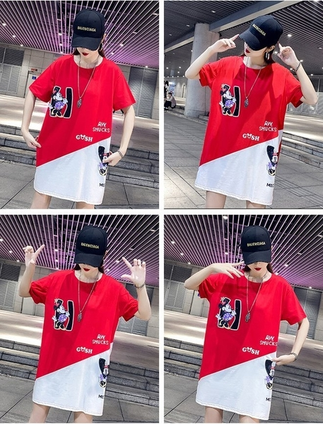 FINDSENSE G6 韓國時尚潮流 歐貨大尺碼T恤短袖短T2019夏裝中長款