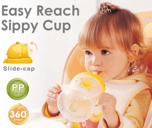 黃色小鴨 自動吸管PP滑蓋練習杯250ml 830507