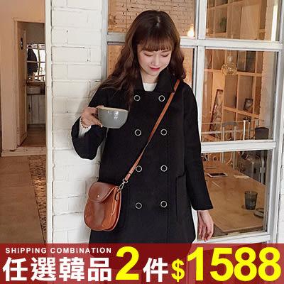 任選2件1588外套學院風雙排扣修身顯瘦中長版毛呢外套大衣【08G-F0265】