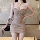 夜店洋裝 夜店女裝性感緊身吊帶收腰打底褶皺氣質包臀連身裙子女夏-Ballet朵朵
