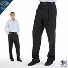 【NST Jeans】英倫 深灰細緻羊毛人字紋 打摺西裝褲(中高腰寬版)001(7285)大尺碼台灣製男