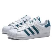 ADIDAS ORIGINALS SUPERSTAR 白 皮革 土耳其藍 麂皮logo 貝殼頭 休閒鞋 女 (布魯克林) EF9248