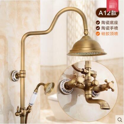 仿古花灑全銅歐式複古帶升降淋浴冷熱水龍頭套裝【A12】