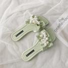 珍珠拖鞋女夏天外穿2021新款仙女風一字平底涼拖海邊時尚沙灘鞋子