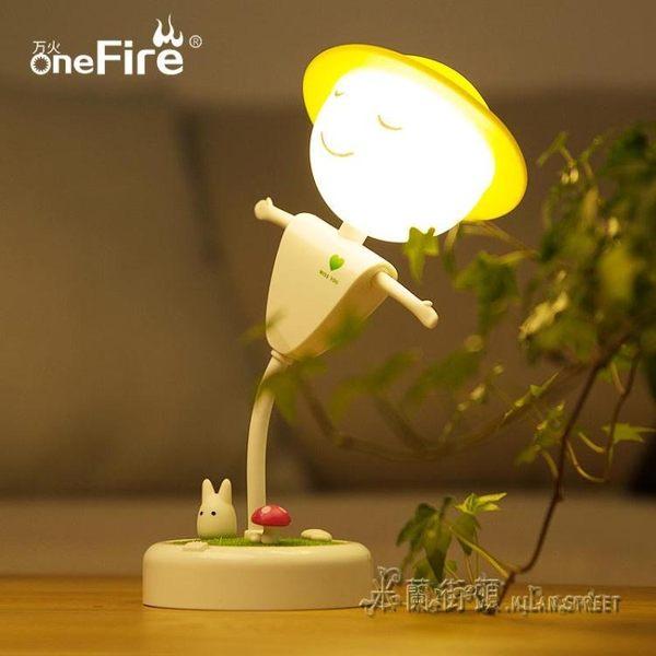 稻草人充電led小夜燈節能創意台燈插電臥室床頭夢幻嬰兒哺乳喂奶【米蘭街頭】