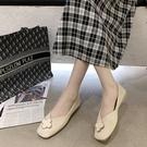 平底鞋方頭單鞋女平底軟皮2020年新款秋季百搭仙女溫柔風淺口豆豆奶奶鞋 KP2661快出『小美日記』