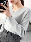 毛衣短款V領針織衫秋冬新款寬鬆上衣女裝套頭長袖韓版毛衣打底衫 喵小姐