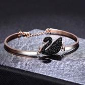 韓版個性純銀s925黑天鵝手鍊手環手鐲可調節女精致飾品