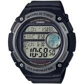CASIO 世界地圖液晶螢幕數位腕錶-黑(AE-3000W-1A)