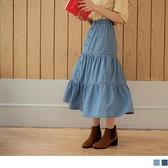 《CA2091-》高含棉牛仔腰鬆緊排釦蛋糕裙 OB嚴選