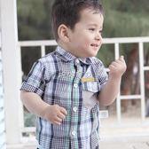 男嬰短袖襯衫 格仔條紋襯衫 嬰兒短袖上衣男寶寶純棉衣服 嬰幼兒T恤 珍妮寶貝