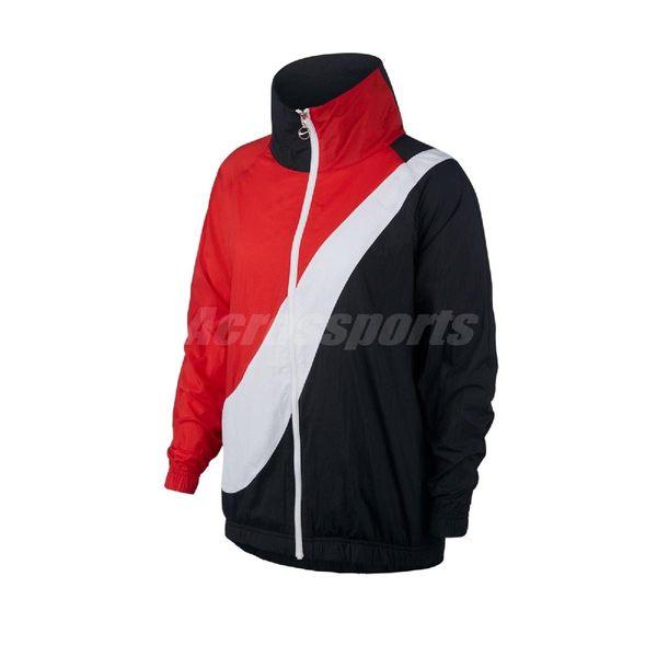 Nike 外套 NSW Woven Swoosh Jacket 紅 黑 女款 運動休閒 立領 【PUMP306】 BV3686-010