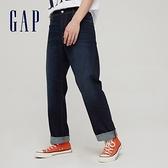 Gap男裝 深色中腰直筒型牛仔褲 976977-水洗靛藍