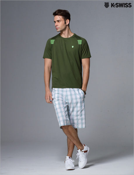【K-Swiss】BB crew專業網球T恤-男 - 墨綠