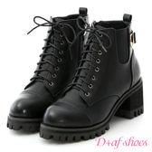 靴子 D+AF 勁酷作風.個性綁帶高跟厚底短靴*黑