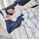 床包 / 雙人【暮晨光線-藍】含兩件枕套 100%精梳棉 戀家小舖台灣製AAS201