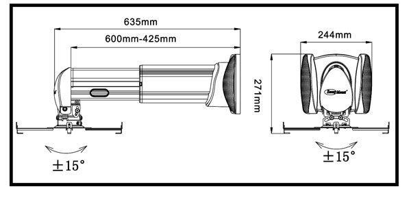 [卡瑪斯投影機銀幕]  M6-600鋁合金短焦投影機吊架 防盜懸臂式~ 可調投影機吊架42.5CM~60CM