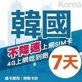 【TEL25】韓國上網卡 7日 不限流量不降速 4G上網 吃到飽上網SIM卡