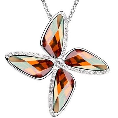 925純銀項鍊 水晶墜飾-造型鑲鑽生日母親節禮物女飾品5色73aj6【巴黎精品】