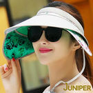 防曬帽子-女款抗紫外線UV防曬遮陽板髮夾空心帽J7515A JUNIPER朱尼博