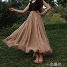 花與影廣場舞裙8米大擺半身長裙夏季雪紡長裙雙層半身裙跳舞裙  一米陽光