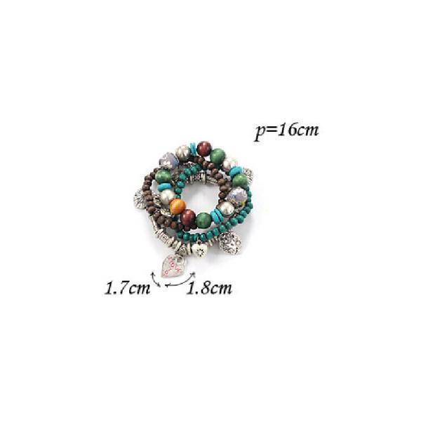 手環 波西米亞 金屬 吊墜 四件套 水晶 串珠 手鍊【DD05201】 icoca  11/23