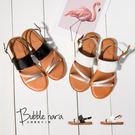 拖鞋 逆光撞色兩穿涼鞋。Bubble Nara波波娜拉。鞣革透氣皮墊顯瘦涼鞋。GB7602 吹吹風可兩穿涼鞋