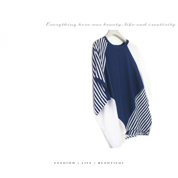 【INI】率性風格、連袖剪裁拼接設計上衣.深藍色