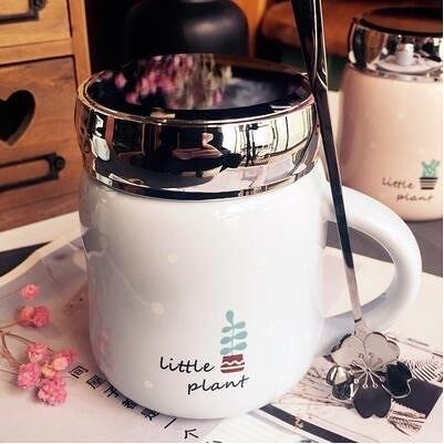 【藍.Little plant  櫻花勺】韓國創意水果陶瓷杯子帶蓋