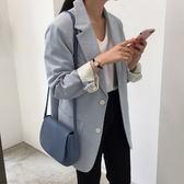 包包2018夏季新款韓國chic純色翻蓋單肩斜挎純色馬鞍包女士包 森活雜貨
