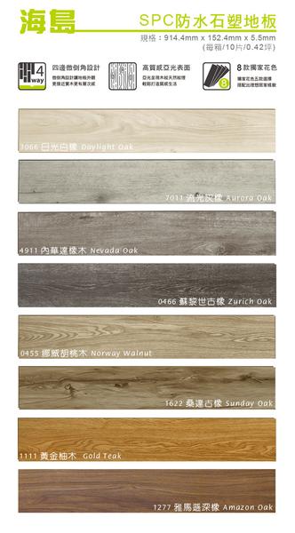 貝力地板 海島 SPC石塑防水卡扣地板-3066日光白橡-80片/3.36坪