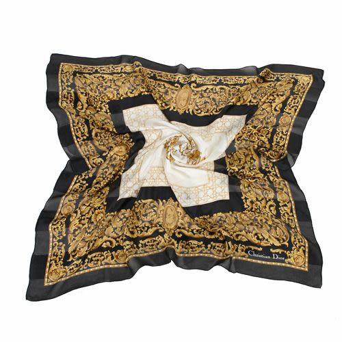 Christian Dior 古典雕花紋緞面領帕巾(黑) 179011