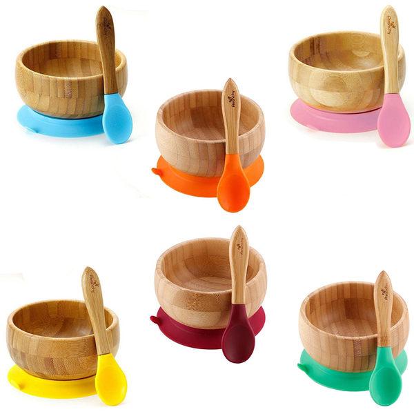 環保餐具 Avanchy 有機竹製吸盤餐碗+湯匙(餐具) 2件組 - 6色 GBBBL / PBBL / YBBL