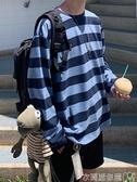 特賣長袖T恤秋季oversize長袖條紋t恤男韓版潮流情侶網紅打底衫寬鬆百搭上衣