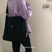 韓 日系簡約百搭中性純色單肩帆布斜跨包學生書包男女