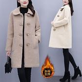 大尺碼斗篷 大碼女裝加厚羊羔毛皮毛一體外套 女秋冬新款洋氣顯瘦毛呢大衣