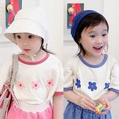 簡單三朵花圖案短袖上衣 童裝 短袖上衣 上衣