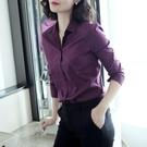 純棉韓版每次穿都被贊紫色襯衫女上衣設計感小眾襯衣2021春秋 快速出貨