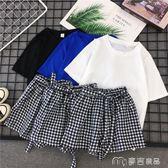 短褲兩件套休閒運動套裝女夏季新款時尚韓版學生寬鬆格子短褲短袖兩件套麥吉良品