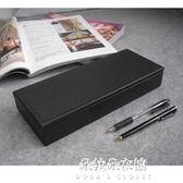 皮革文具盒帶蓋多功能創意時尚筆筒桌面收納盒辦公用品整理盒  朵拉朵衣櫥