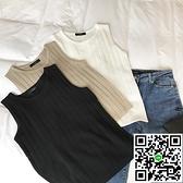冰絲無袖針織背心女外穿修身短款小可爱內搭打底衫【風之海】