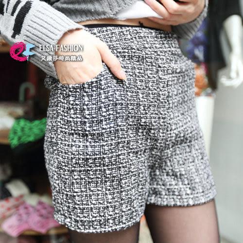 *艾爾莎*【TF10002】窈窕美型鬆緊縮腰高腰毛料短褲