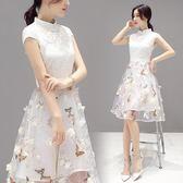 改良旗袍連身裙2019新款春季白色中長款中國風洋裝女裝服小 伊蒂斯女装