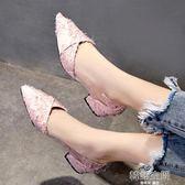 單鞋女2018新款夏季韓版百搭平底鞋子中跟尖頭淺口粗跟低跟瓢鞋