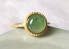 14K金台法式輕奢珠寶鑲嵌天然翡翠玻璃金絲種A貨(緬甸玉)戒指 優惠價