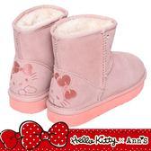 HELLO KITTY X Ann'S毛茸茸後跟刺繡超短筒真皮雪靴-粉