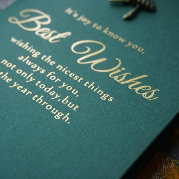 【BlueCat】復古墨綠BEST WISHES金屬小圖案卡片