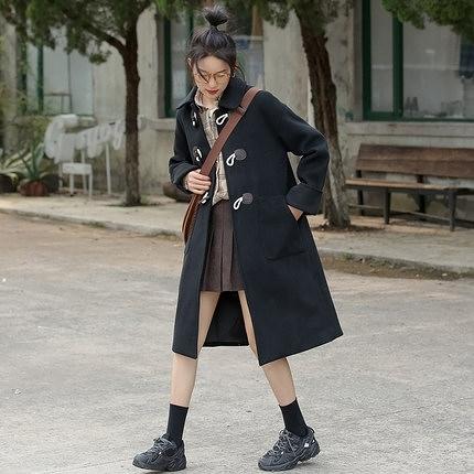 牛角扣大衣 復古牛角扣毛呢外套女中長款2020秋冬新款韓版學院風呢子大衣